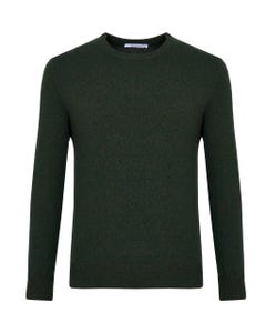 Maglia girocollo verde lana mouliné_0